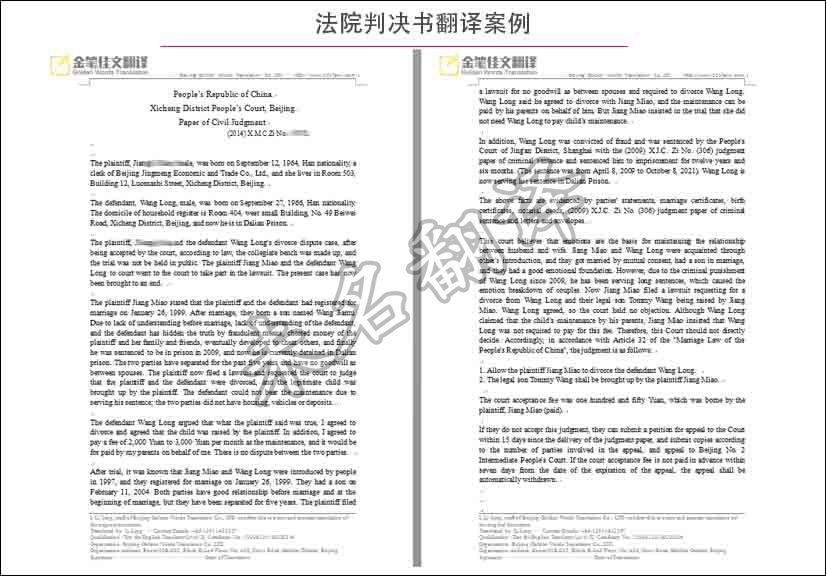 法庭证据翻译案例